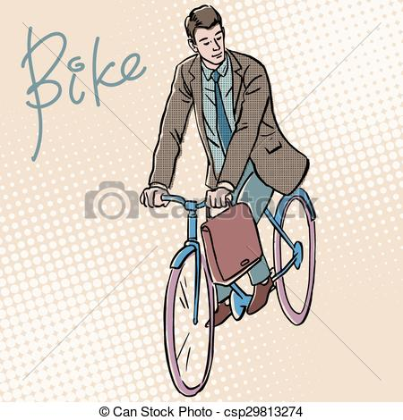 Cycle clipart pop. Businessman on bicycle retro svg stock