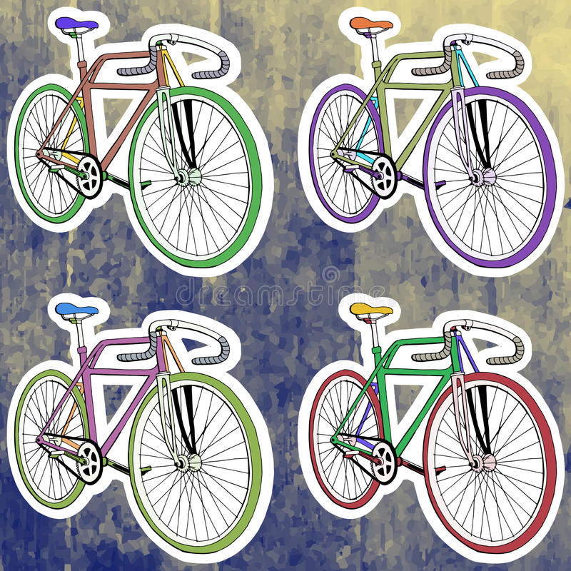 Cycle clipart pop. Art stickers set hand picture library stock