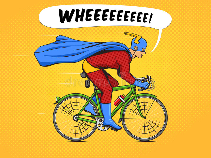 Superhero on a bicycle. Cycle clipart pop clip art download
