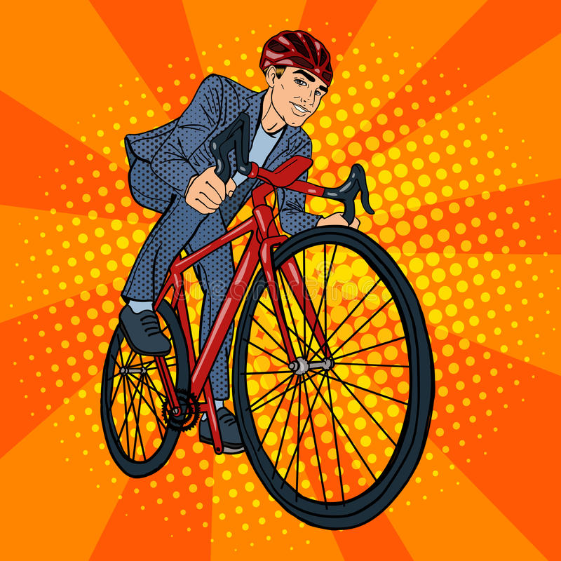 Businessman on bicycle riding. Cycle clipart pop clip art royalty free library