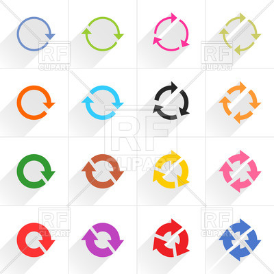 Cycle clipart rotation. Flat style round arrows transparent stock