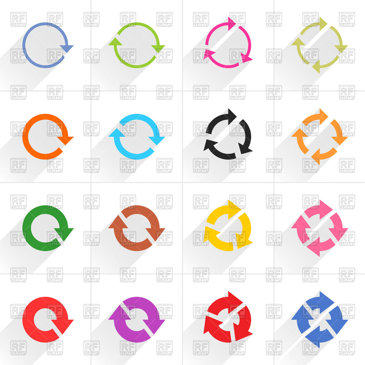 Cycle clipart rotation. Flat style round arrows png transparent download