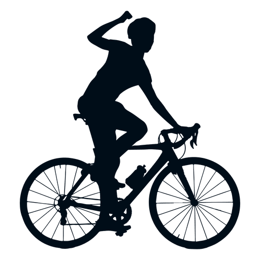 Cycle vector. Cycling winner silhouette transparent