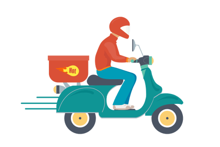 Cycle vector delivery. Home icon path decorations