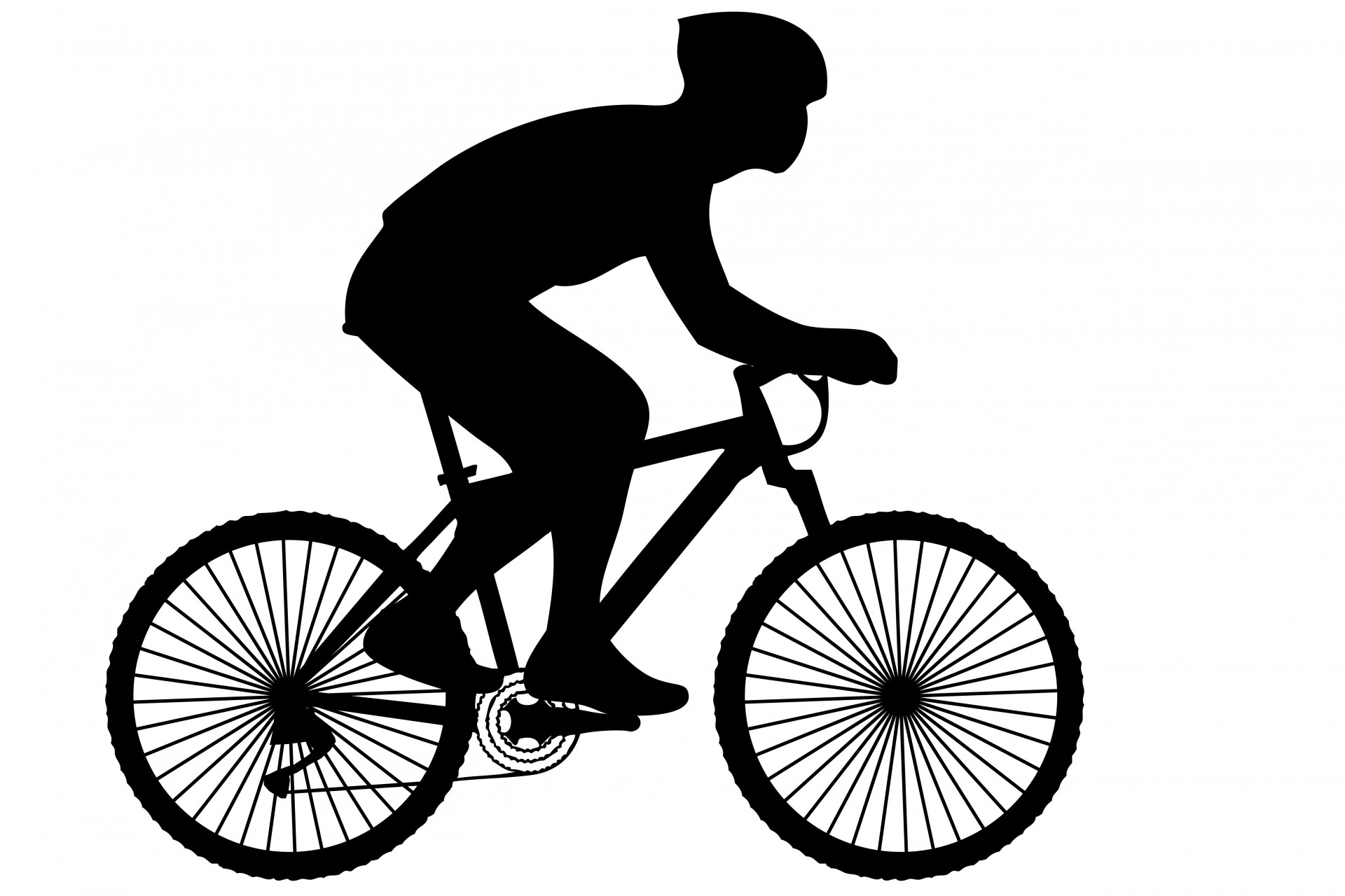 Cycling clipart. Cyclist black silhouette free