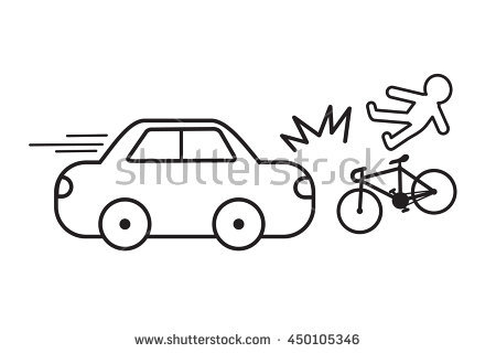 Crash bicycle vector easy. Cycling clipart car bike picture free stock