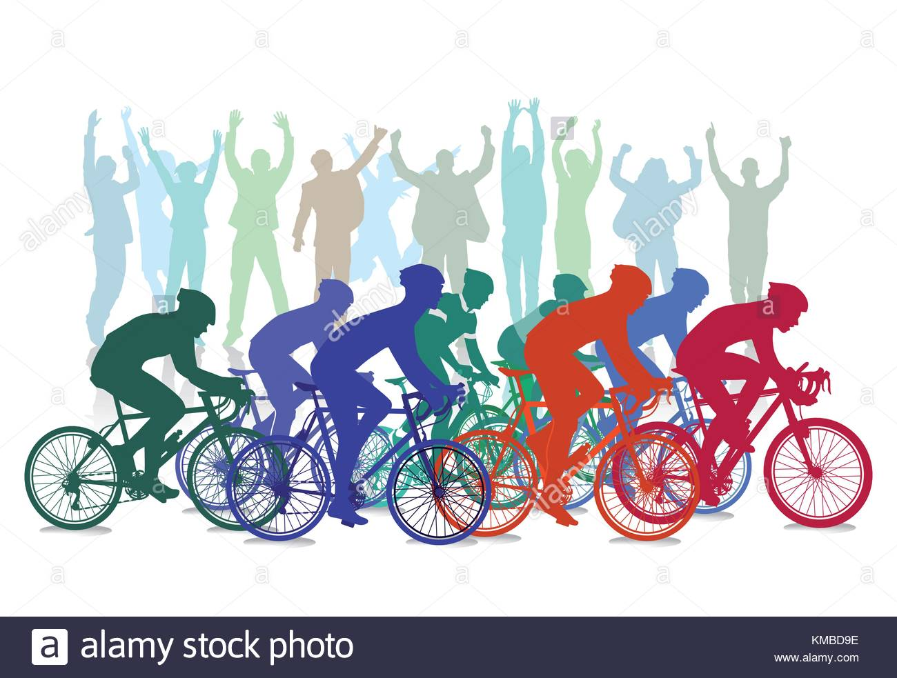 Cycling clipart cycling competition. Cycle race with spectators image royalty free library