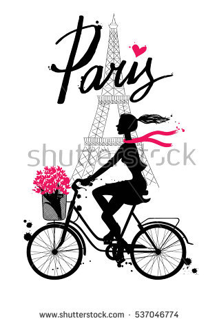 Cycling clipart girl paris. Rides bicycle vector hand png black and white