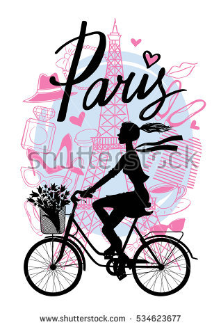 Cycling clipart girl paris. Rides bicycle silhouette cyclist graphic transparent