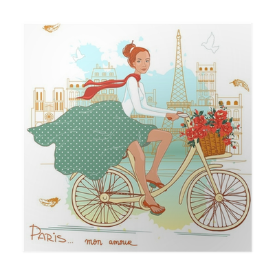 Cycling clipart girl paris. Bicycle poster pixers we
