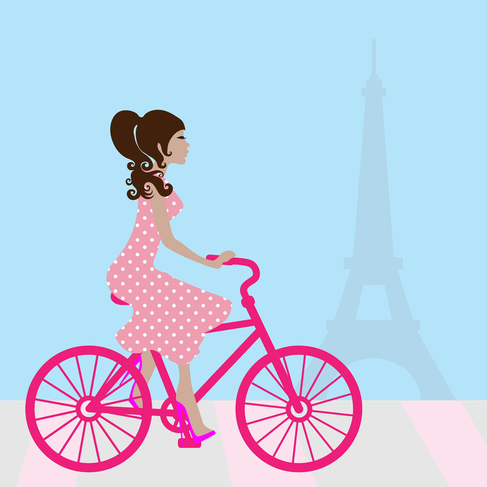 Cycling clipart girl paris. In free stock photo