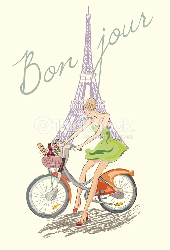 Cycling clipart girl paris. Hello fashion on the picture library