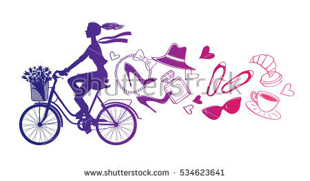Rides bicycle silhouette cyclist. Cycling clipart girl paris png black and white