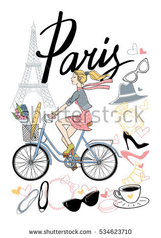 Rides bicycle vector hand. Cycling clipart girl paris clipart royalty free download
