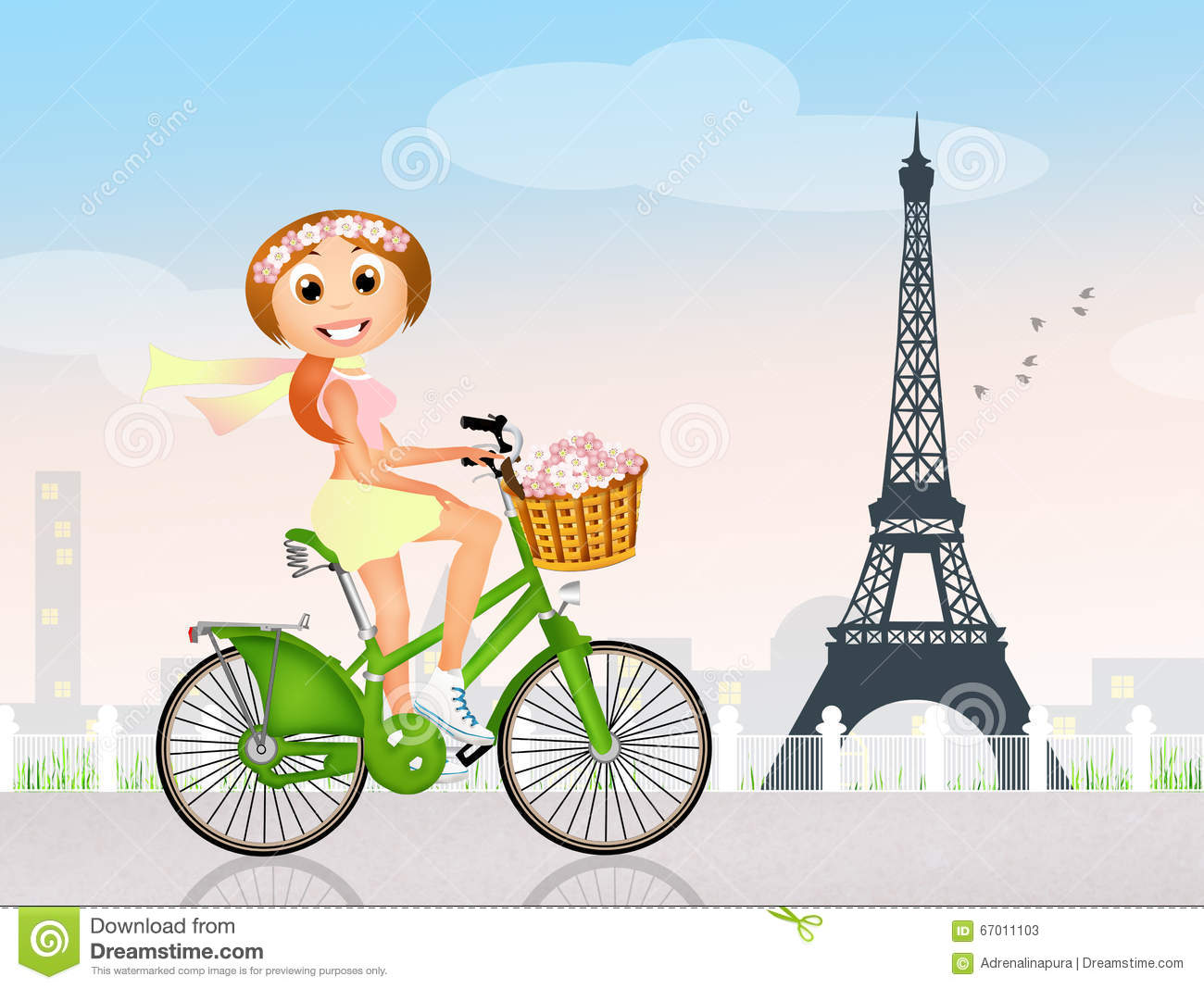 On bike in stock. Cycling clipart girl paris graphic library stock