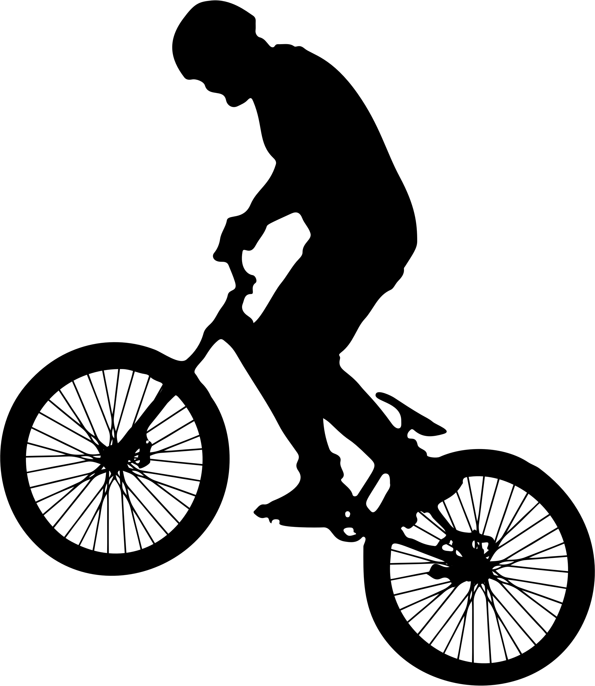 Man on bike big. Cycling clipart human silhouette image freeuse download