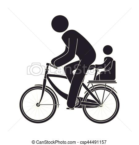 Cycling clipart human silhouette. Figure riding bike vector transparent stock