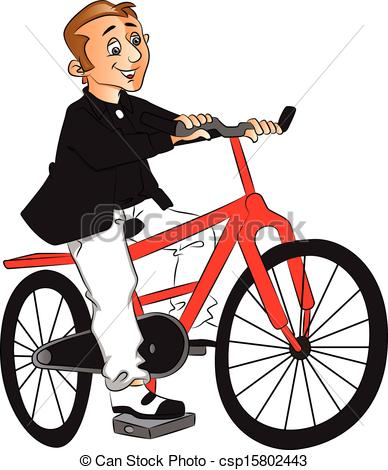 Vector of riding bicycle. Cycling clipart man clip art freeuse stock