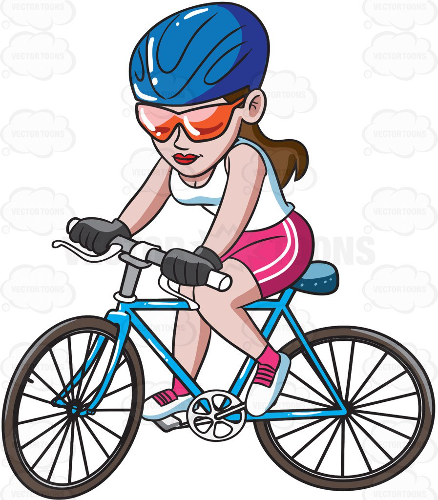 Cycling clipart mountain bike. A woman riding cartoon clipart royalty free library