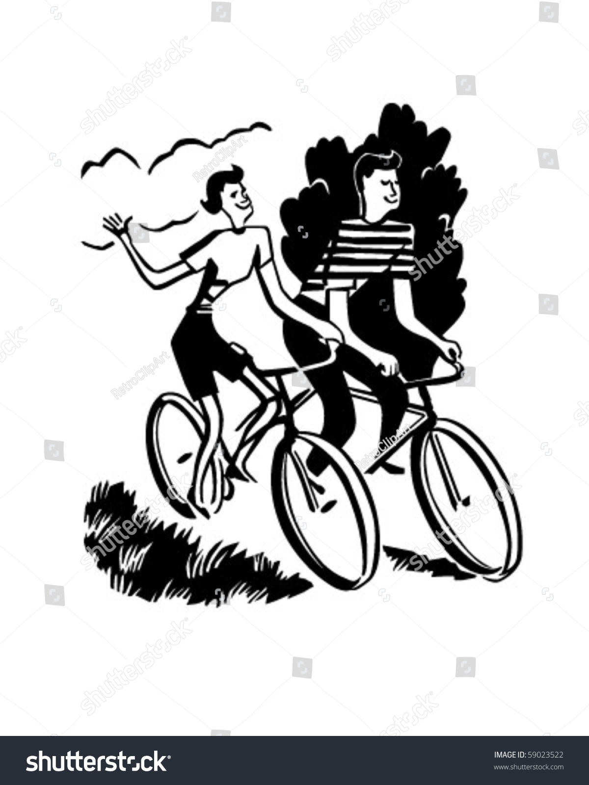 Cycling clipart recreation. Couple on bikes retro clip art freeuse library
