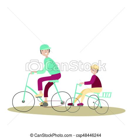 Dad and son riding. Cycling clipart recreation jpg library