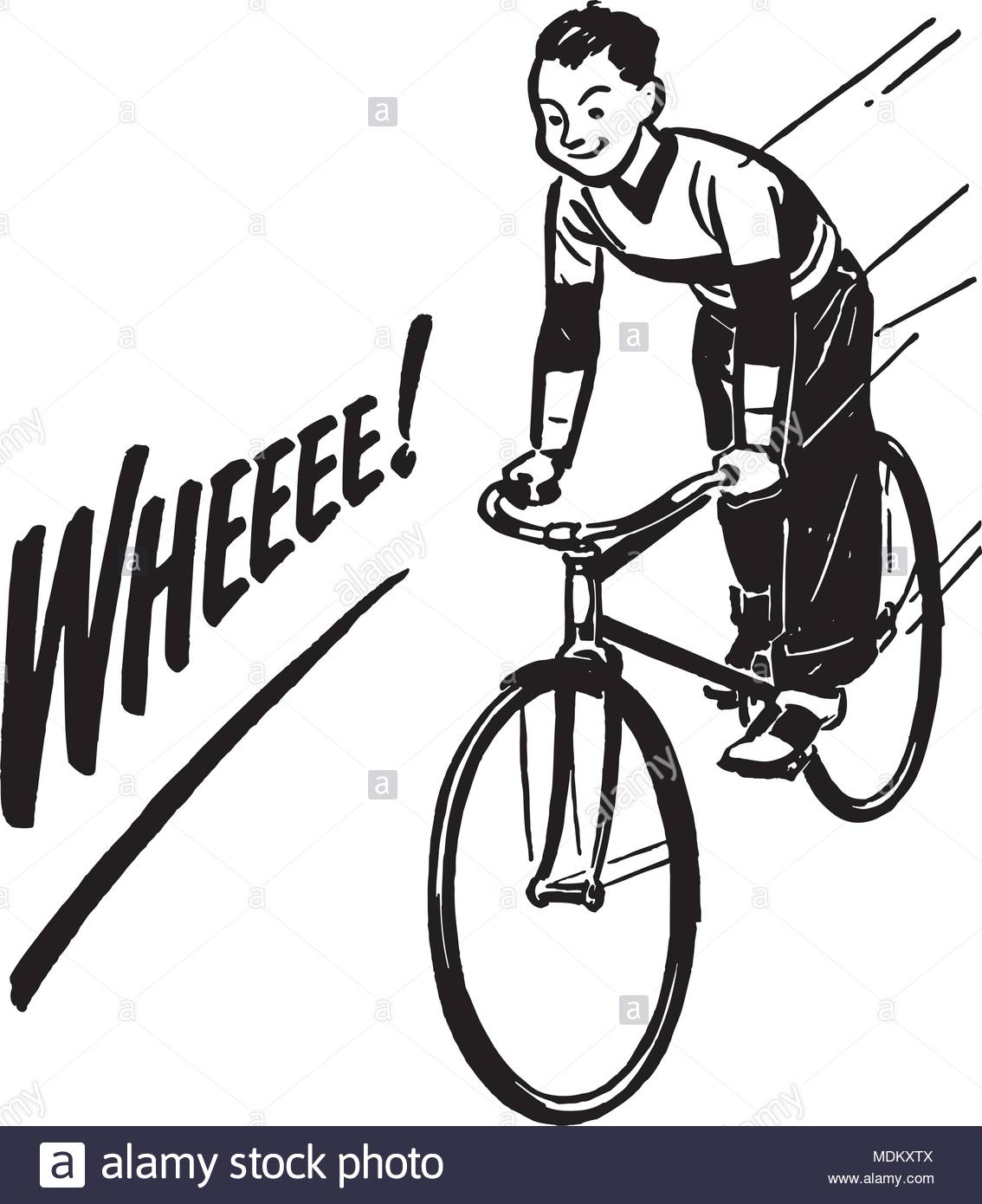 Boy riding bike retro. Cycling clipart recreation graphic free library