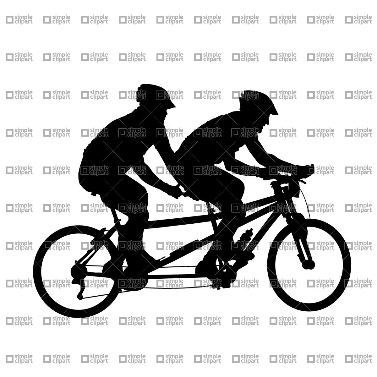 Tandem bicycle silhouette vector. Cycling clipart recreation clip art transparent stock