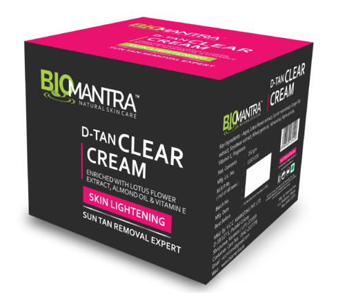 D transparent clear. Cosmetics biomantra tan cream