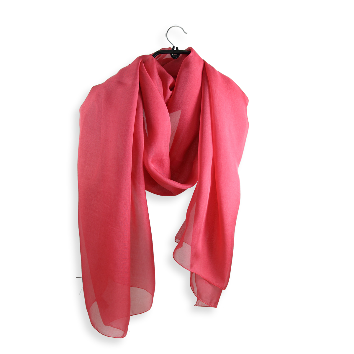 Transparent d coral pink. Large evening stole in