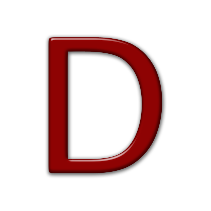 D transparent red. Letter icons png vector