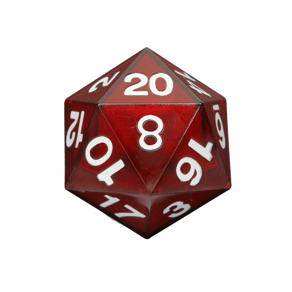 D20 transparent red. Critical hit led d