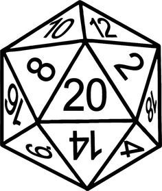 D20 clipart. Polyhedral dice d dnd