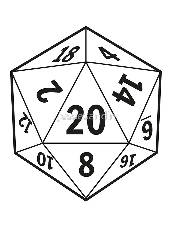 D20 clipart drawn. D icon shared by