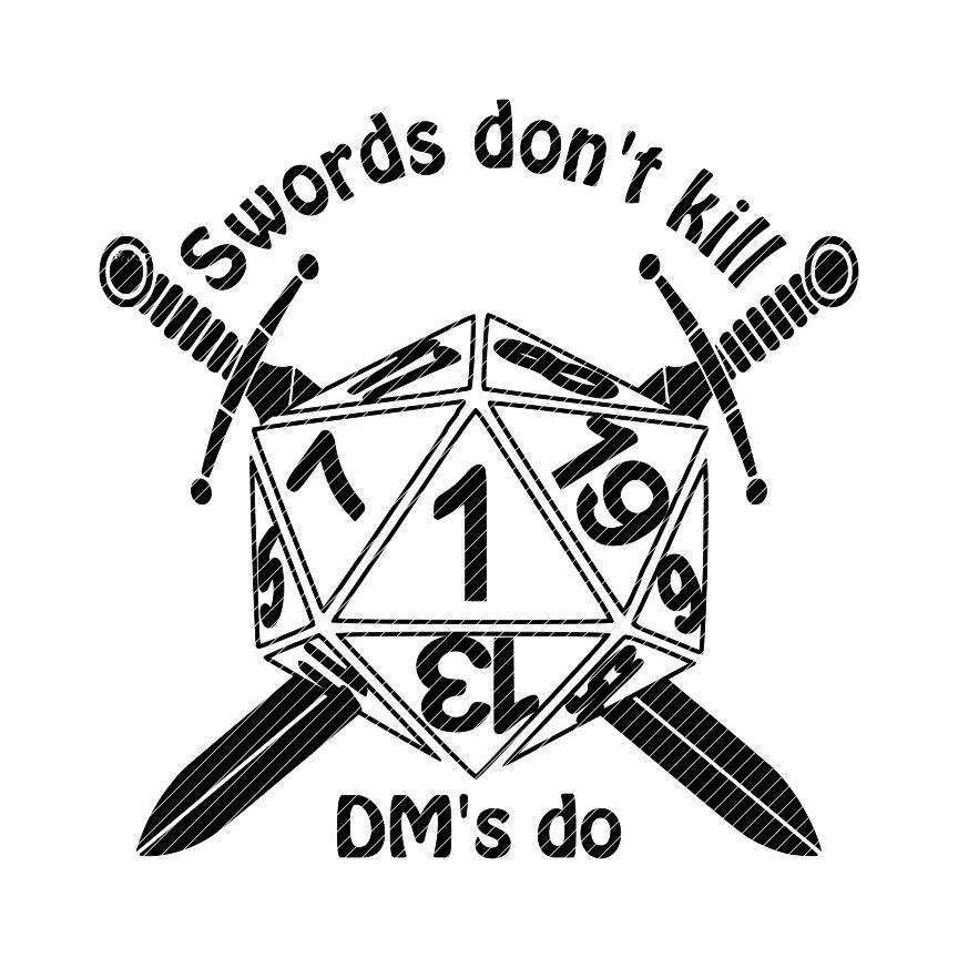 D20 clipart drawn. Swords don t kill picture freeuse