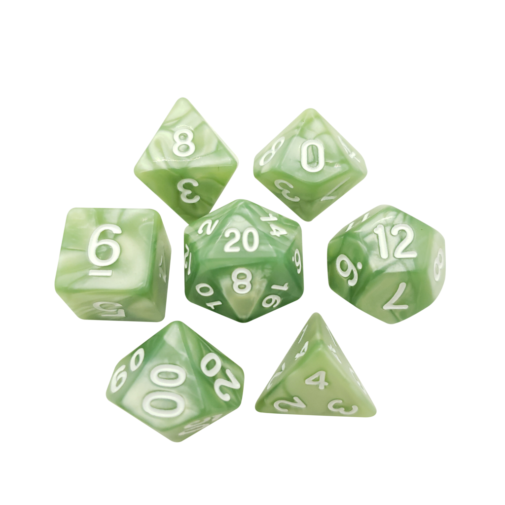 D20 transparent green. Light marbled dice polyhedral