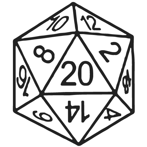 D20 transparent oversized. Collection of dnd