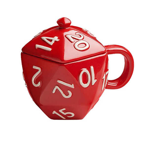 D20 transparent red. Critical hit d mug