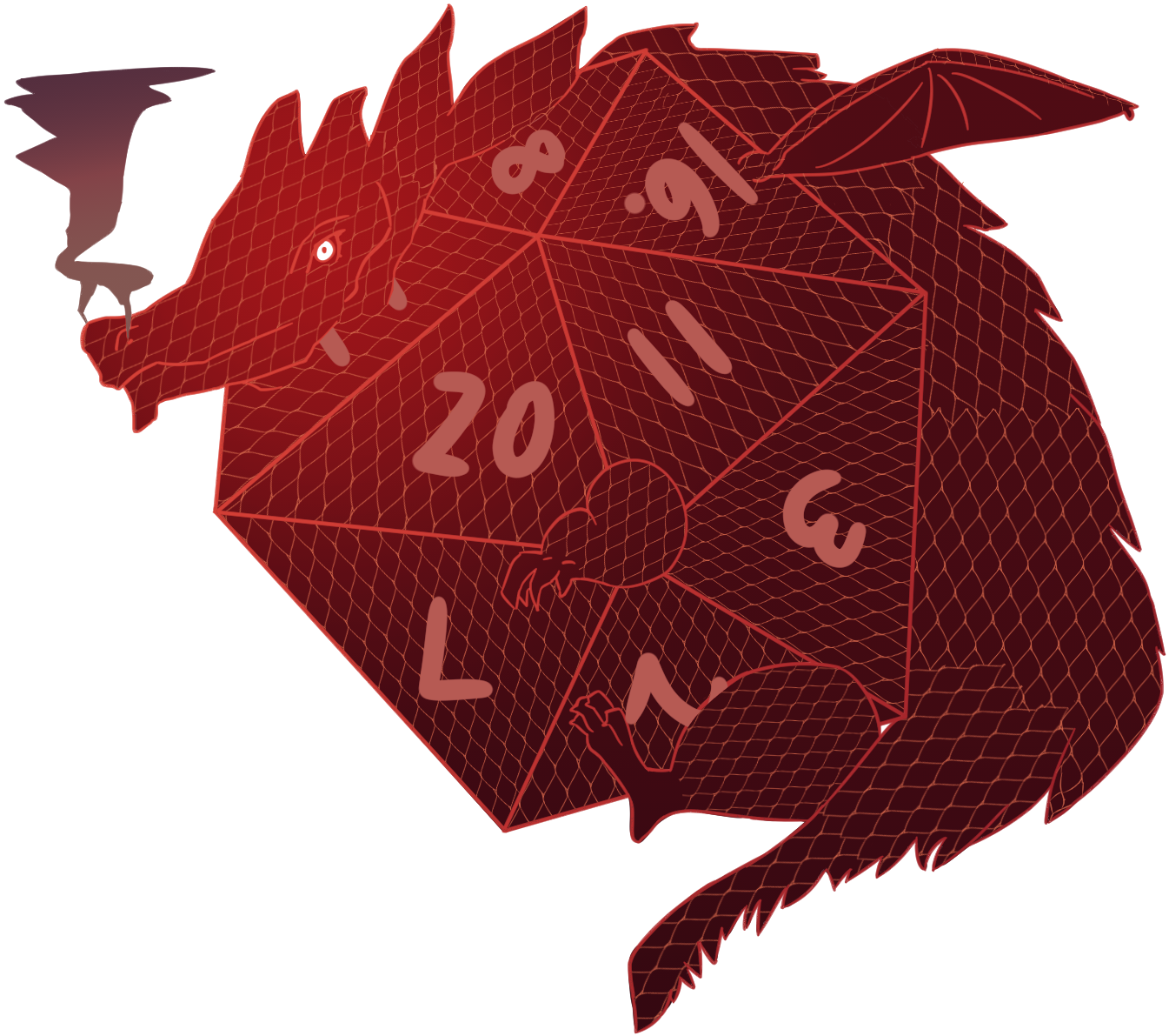 D20 transparent red. D dragon weasyl