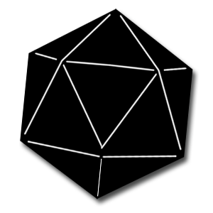 D20 svg black and white. Dice d icon free