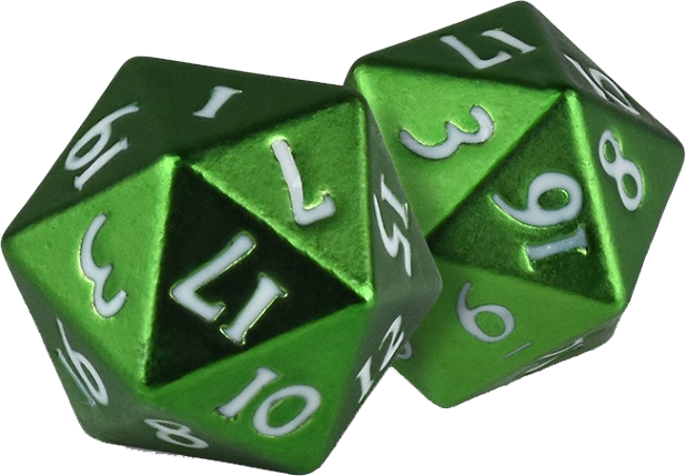 D20 transparent green. Sports game card distribution