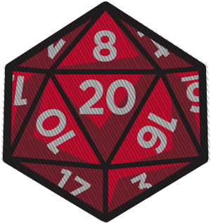 D20 transparent red. D embroidered creature curation