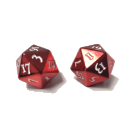D20 transparent red. Ultra pro heavy metal