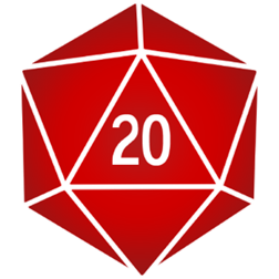 D20 transparent red. Library d icon free