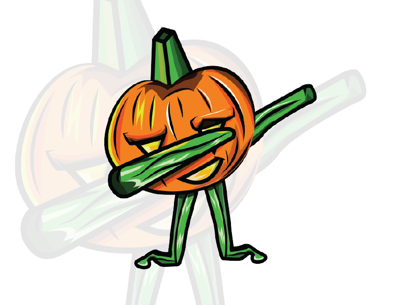 Dab vector cartoon character. Halloween shirt pumpkin dabbing