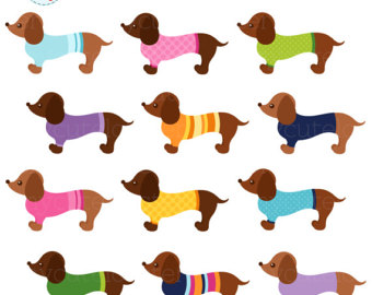 Dachshund clipart. Etsy sweater dachshunds set