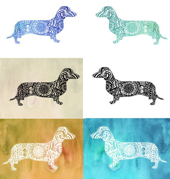 Dachshund clipart file. Zentangle clip art cut