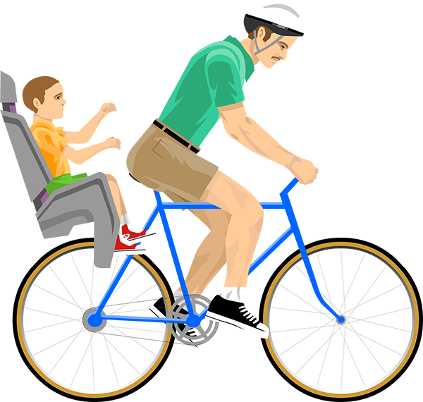Dad and child on bicycle png. Irresponsible happy wheels wiki