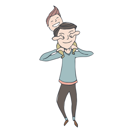 Dad cartoon png. Father wearing son on