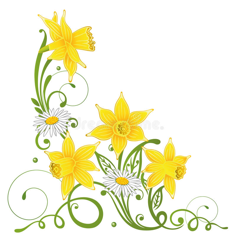 Daffodil clipart easter. Daffodils daisy stock vector black and white stock