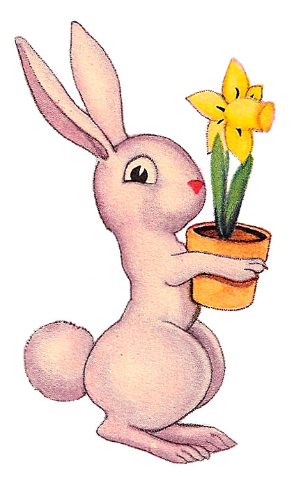 Daffodil clipart easter. Vintage clip art funny
